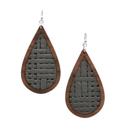 Grey Basket Weave Wood + Leather Teardrop - graceandwoodco
