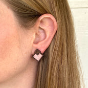 Blush Wood + Cork Diamond Studs - Grace and Wood Co.