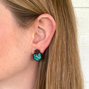 Turquoise Glitter Wood + Cork Hexagon Studs