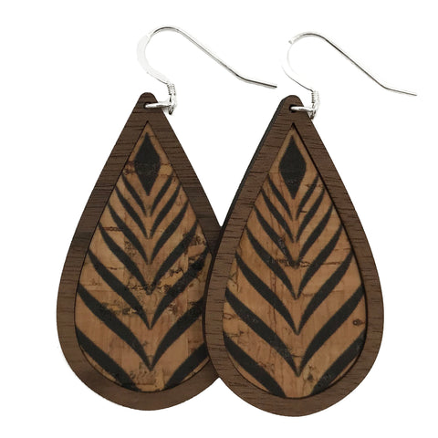 Tribal Wood+Cork Teardrop Earrings - Grace and Wood Co.
