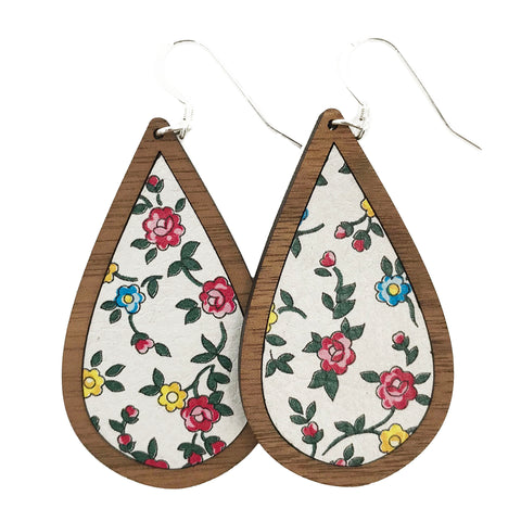 Floral Wood+Leather Teardrop Earrings - Grace and Wood Co.