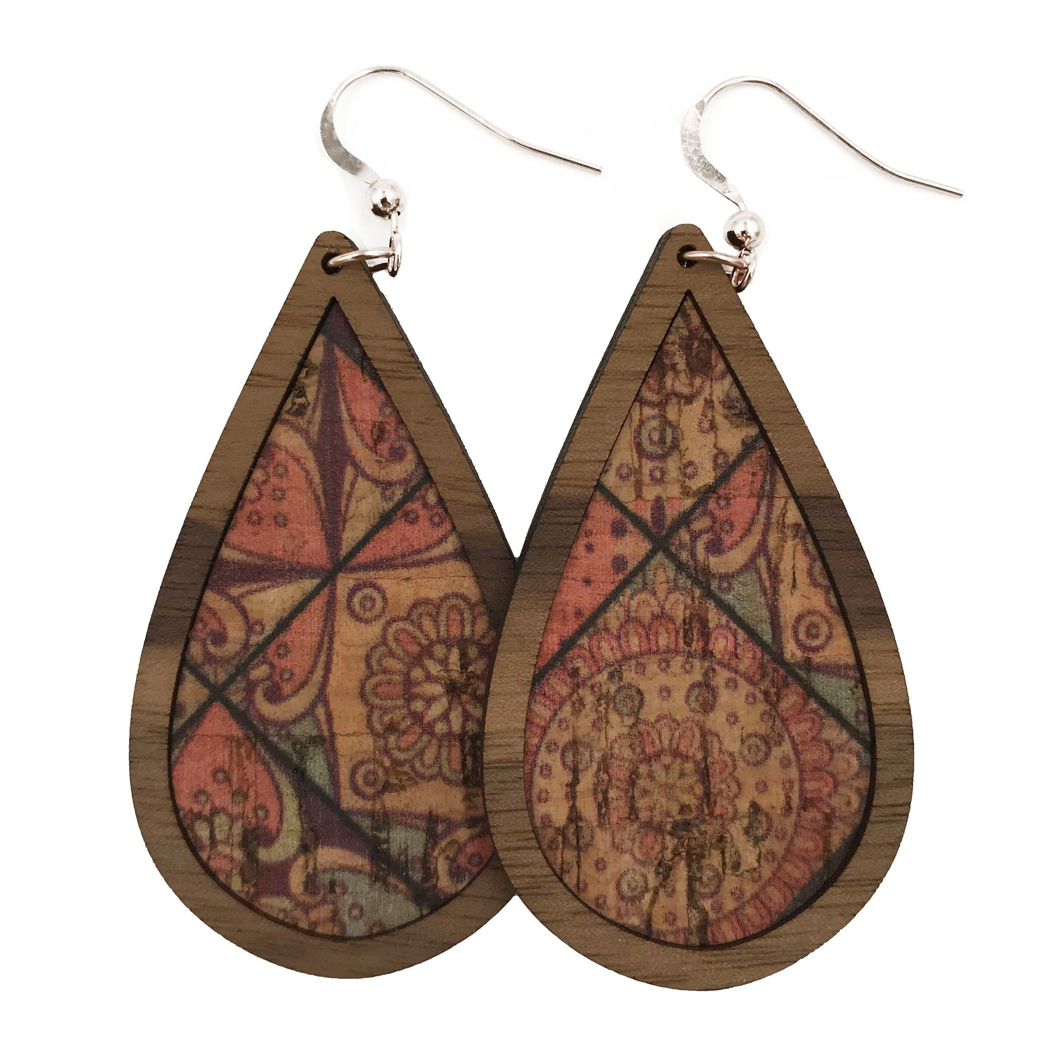 Quilted Wood+Cork Teardrop Earrings - Grace and Wood Co.