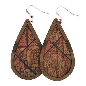Quilted Wood+Cork Teardrop Earrings - graceandwoodco
