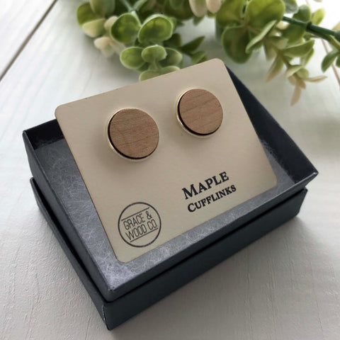 Maple Cufflinks - Grace and Wood Co.