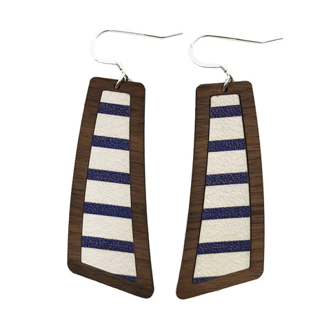 Blue and White Stripes Wood+Leather Flare Earrings - Grace and Wood Co.