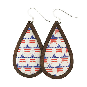 American Stars Wood+Leather Teardrop Earrings - Grace and Wood Co.
