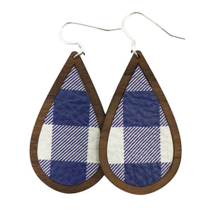 Blue Buffalo Plaid Wood+Leather Teardrop Earrings - Grace and Wood Co.