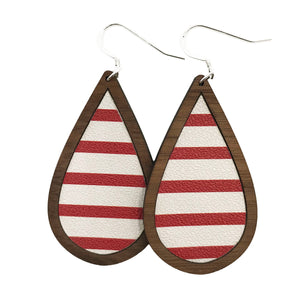 Red and White Stripes Wood+Leather Teardrop Earrings - Grace and Wood Co.