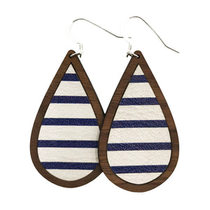 Blue and White Stripes Wood+Leather Teardrop Earrings - Grace and Wood Co.