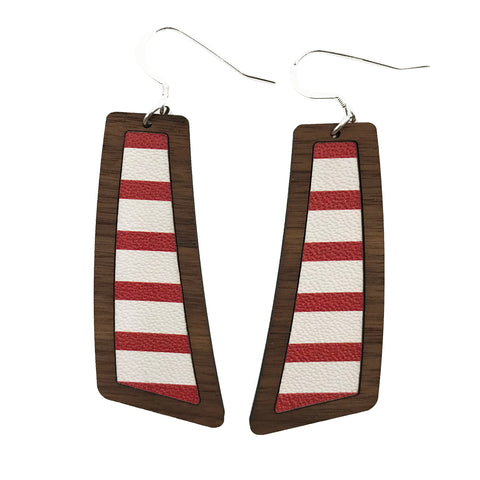 Red and White Stripes Wood+Leather Flare Earrings - Grace and Wood Co.