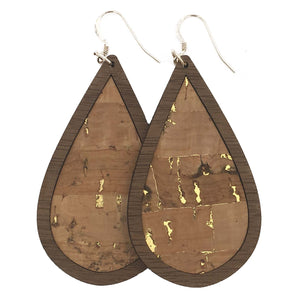 Natural with Gold Flecks Wood+Cork Teardrop Earrings - graceandwoodco