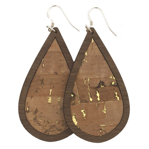 Natural with Gold Flecks Wood+Cork Teardrop Earrings - Grace and Wood Co.