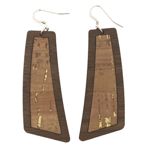 Natural with Gold Flecks Wood+Cork Flare Earrings - Grace and Wood Co.