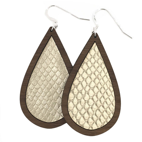 Champagne Wood+Leather Teardrop Earrings - Grace and Wood Co.