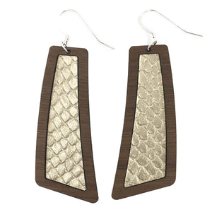 Champagne Wood+Leather Flare Earrings - Grace and Wood Co.