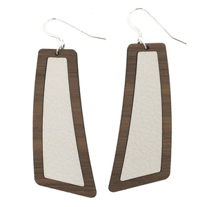 White Wood+Leather Flare Earrings - graceandwoodco