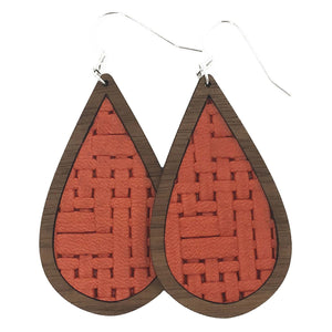 Coral Basket Weave Wood+Leather Teardrop Earrings - Grace and Wood Co.