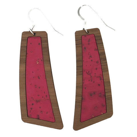 Dark Pink Wood+Cork Flare Earrings - Grace and Wood Co.
