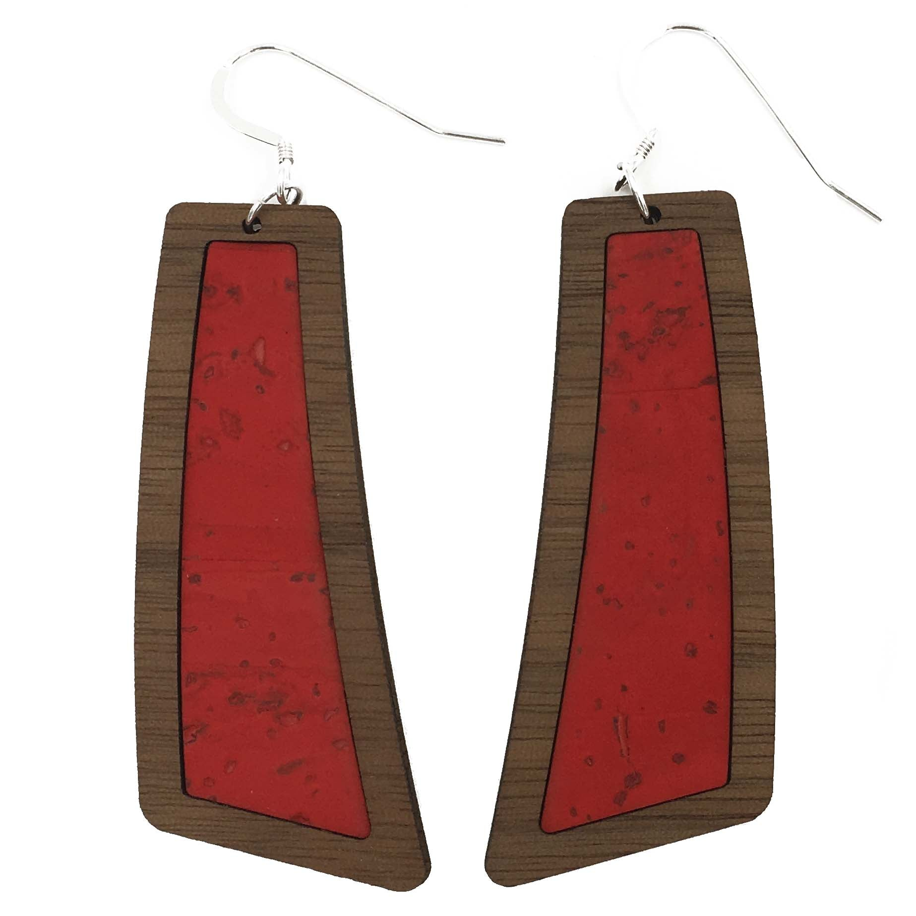 Candy Apple Red Wood+Cork Flare Earrings - Grace and Wood Co.
