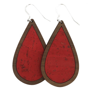 Candy Apple Red Wood+Cork Teardrop Earrings - Grace and Wood Co.