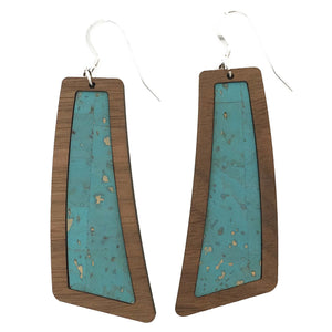 Ocean Blue Wood+Cork Flare Earrings - Grace and Wood Co.