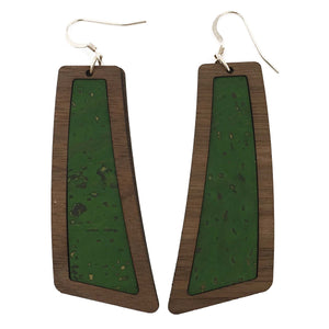 Green Wood+Cork Flare Earrings - Grace and Wood Co.