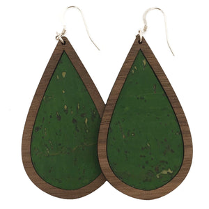 Green Wood+Cork Teardrop Earrings - Grace and Wood Co.