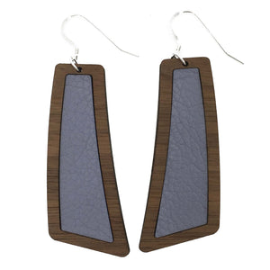 Lavender Wood+Leather Flare Earrings - Grace and Wood Co.