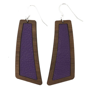 Dark Purple Wood+Leather Flare Earrings - Grace and Wood Co.