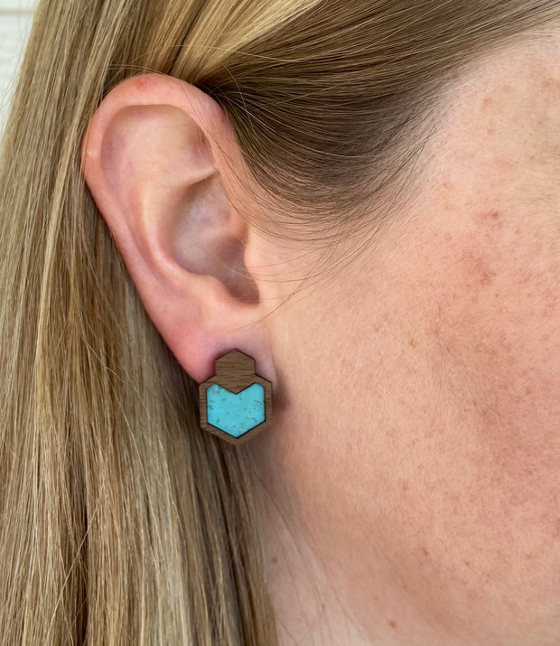 Ocean Blue Wood + Cork Hexagon Studs - Grace and Wood Co.
