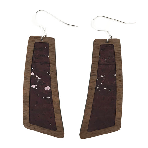 Plum with Silver Flecks Wood+Cork Flare Earrings - Grace and Wood Co.