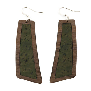 Army Green Wood+Cork Flare Earrings - Grace and Wood Co.