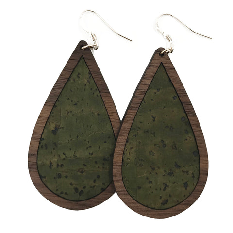 Army Green Wood+Cork Teardrop Earrings - Grace and Wood Co.