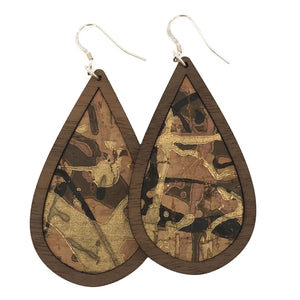 Desert Camo Wood+Cork Teardrop Earrings - Grace and Wood Co.