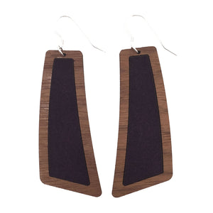 Dark Purple Suede Wood+Leather Flare Earrings - Grace and Wood Co.