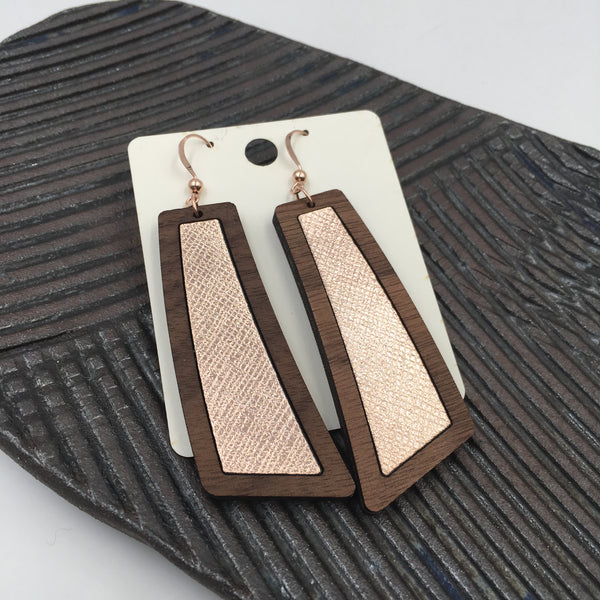 Rose Gold Wood+Leather Flare Earrings - graceandwoodco