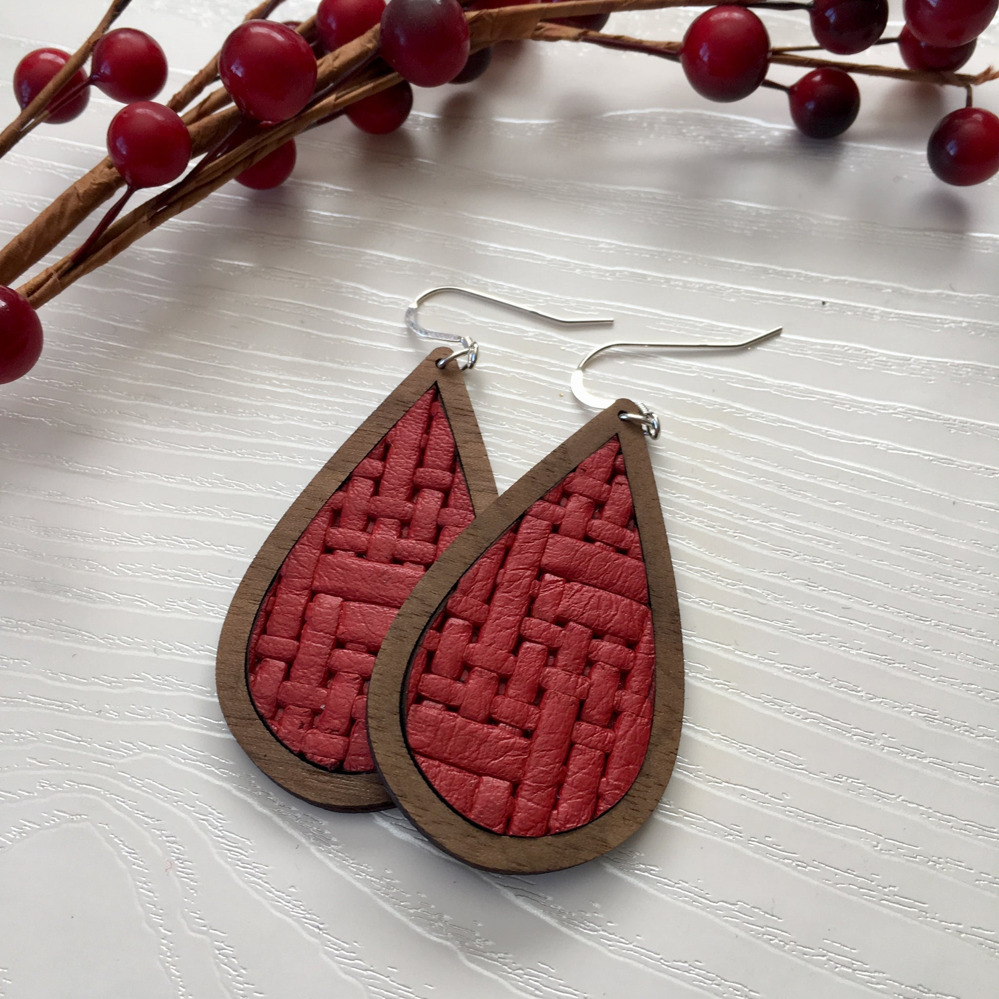 Red Basket Weave Wood+Leather Teardrop Earrings