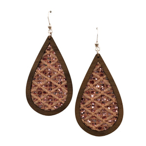 Pink Glitter Wood + Fabric Teardrop Earrings