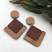 Cherry Bloodwood Geometric Dangle Studs - graceandwoodco