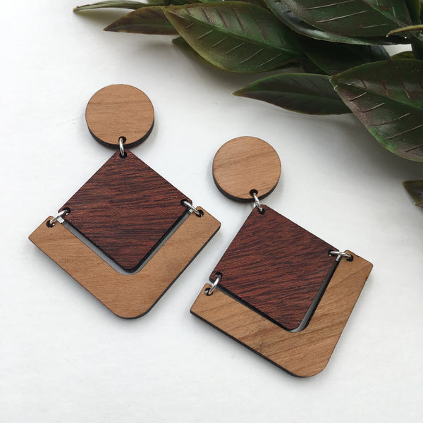 Cherry and Bloodwood Geometric Dangle Studs - graceandwoodco