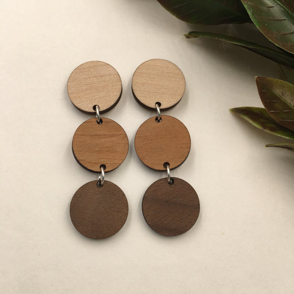 Maple, Cherry and Walnut Triple Circle Dangle Studs