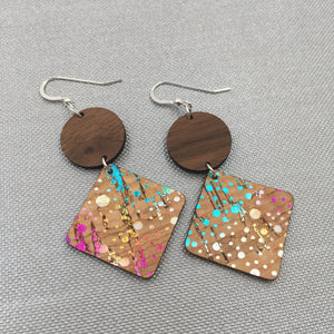 Walnut Wood Circle and Confetti Cork Diamond Hinged Earrings