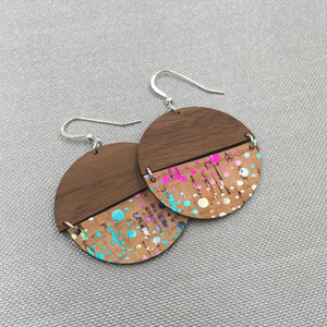 Walnut Wood and Confetti Cork Disc Hinged Earrings