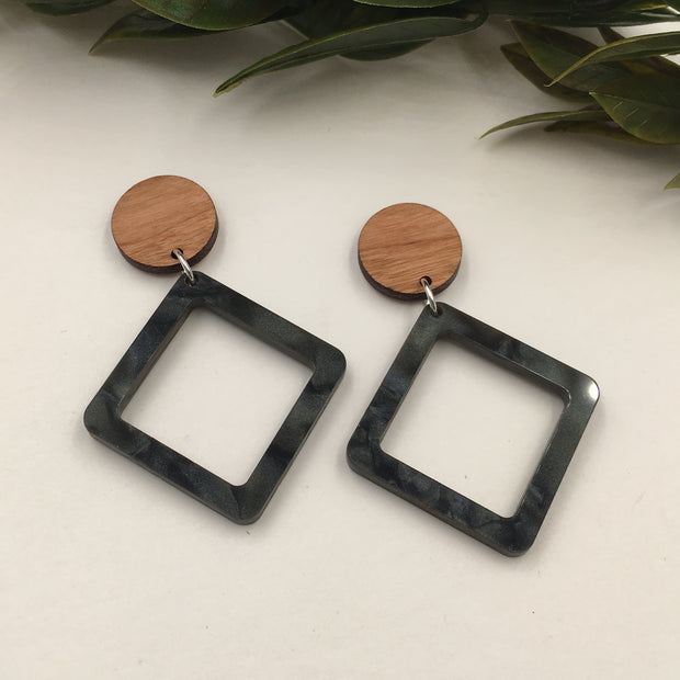 Black Diamond Dangle Studs - graceandwoodco