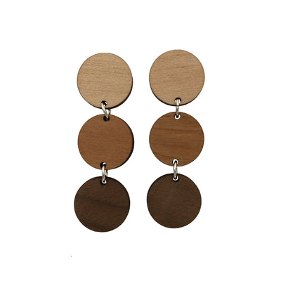 Maple, Cherry and Walnut Triple Circle Dangle Studs - Grace and Wood Co.