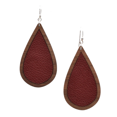 Maroon Wood + Leather Teardrop - Grace and Wood Co.
