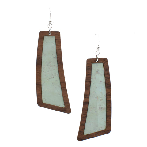 Mint Wood + Cork Flare Earrings - graceandwoodco