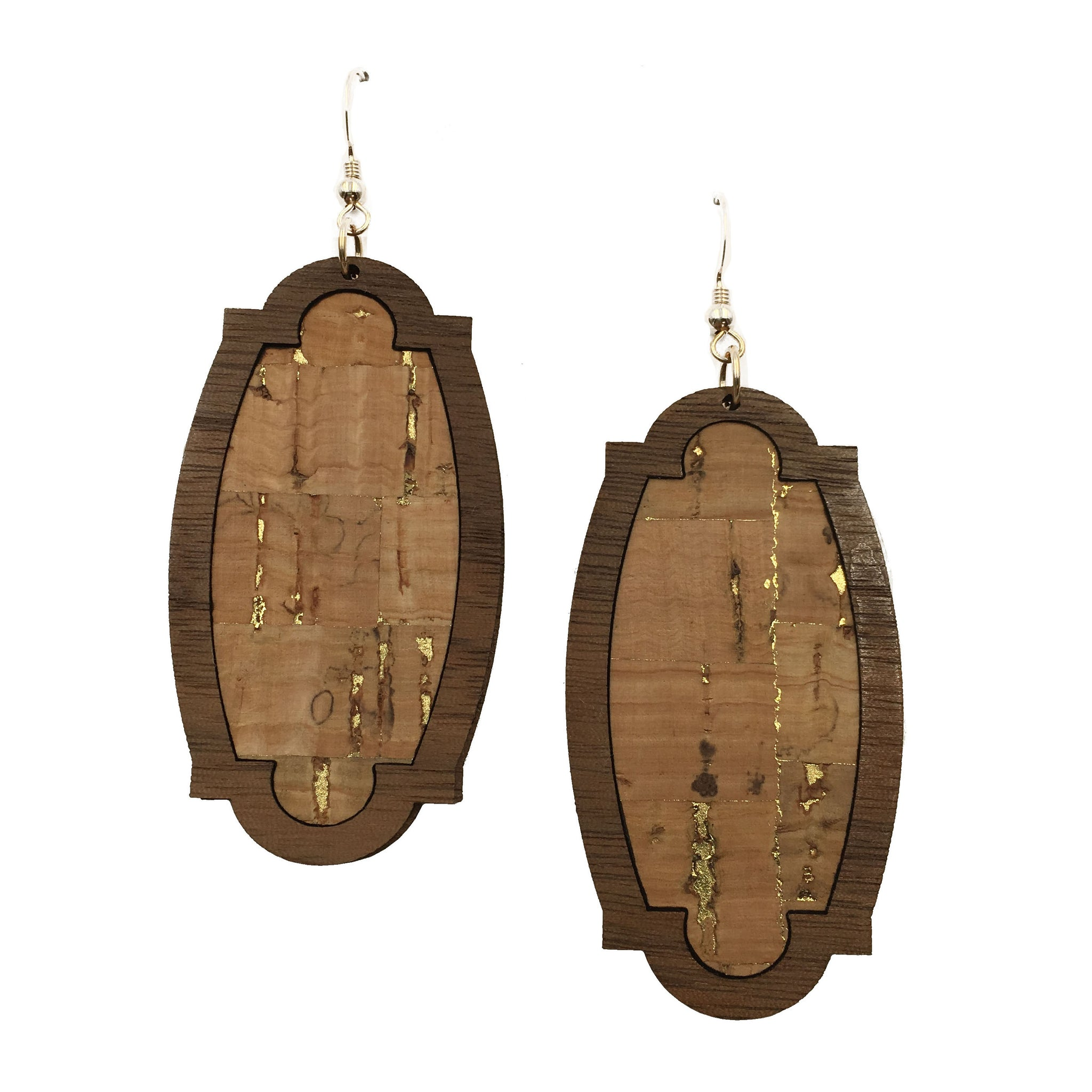 Natural with Gold Fleck Wood + Cork Heirloom Earrings