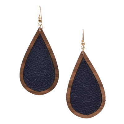 Navy Wood + Leather Teardrop - Grace and Wood Co.