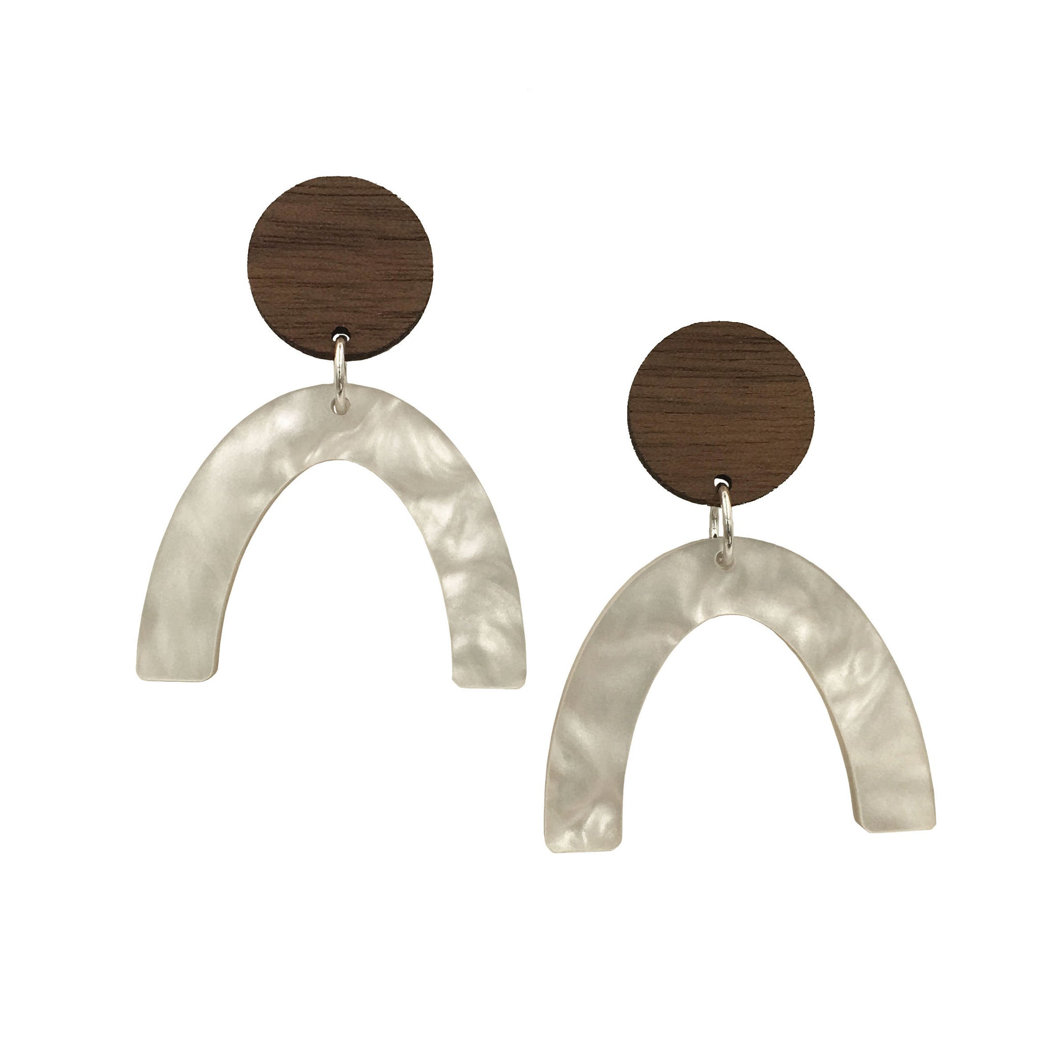 Walnut Wood and Pearl Acrylic Celluloid Arch Dangle Stud Earrings - graceandwoodco
